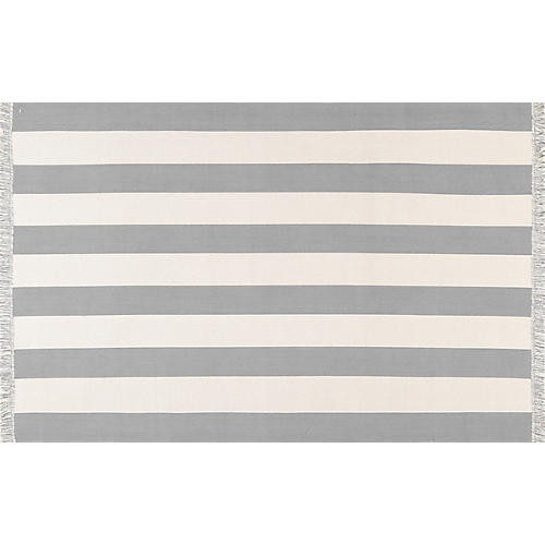 Erika Cotton Stripe Rug, Gray