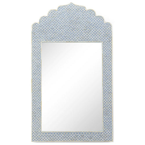 Crown Oversize Wall Mirror, Blue/Cream