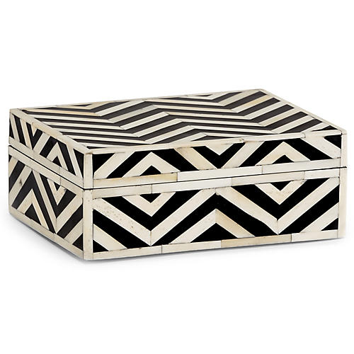 "8"" Peru Jewelry Box, Black/Ivory"