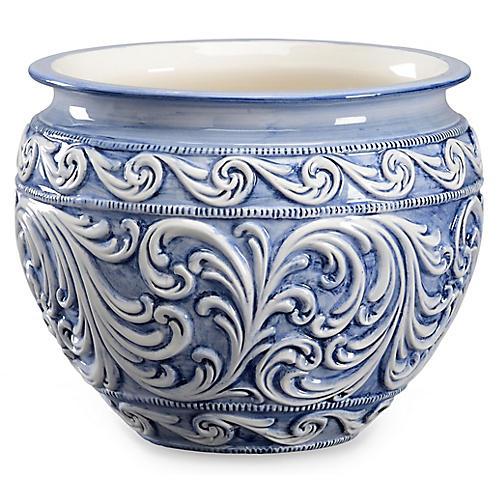"""9"""" Praga Cachepot, Blue/White"""