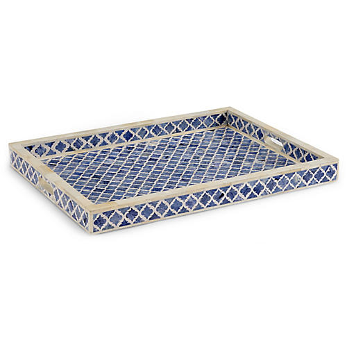 """24"""" Newton Decorative Tray, Blue"""
