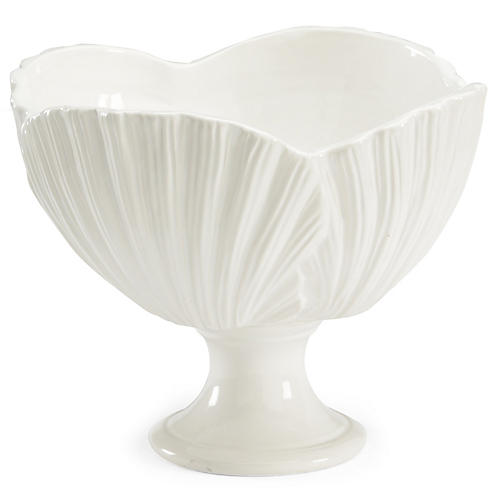 "15"" Palm Leaf Decorative Bowl, White"