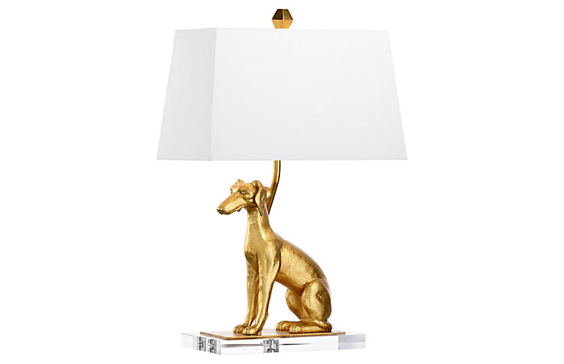 Flossie Left-Facing Table Lamp, Antiqued Gold