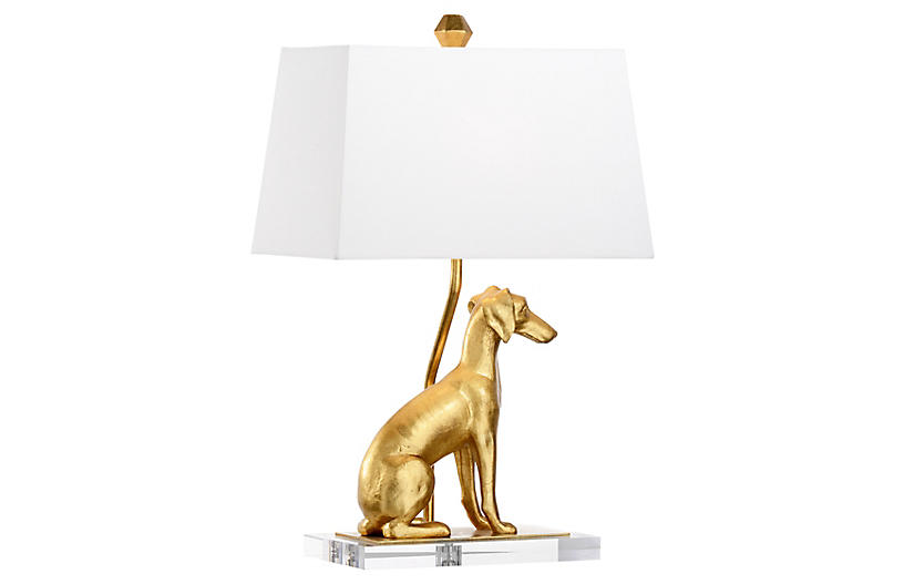 Flossie Right-Facing Table Lamp, Antiqued Gold