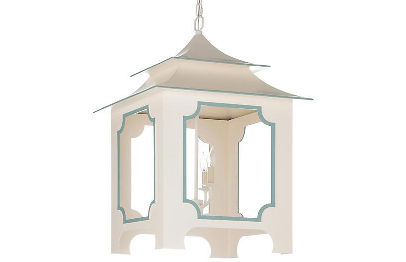 Pagoda Lantern, Cream/Blue