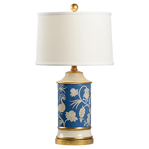 Middlebury Table Lamp, Blue/Cream Glaze