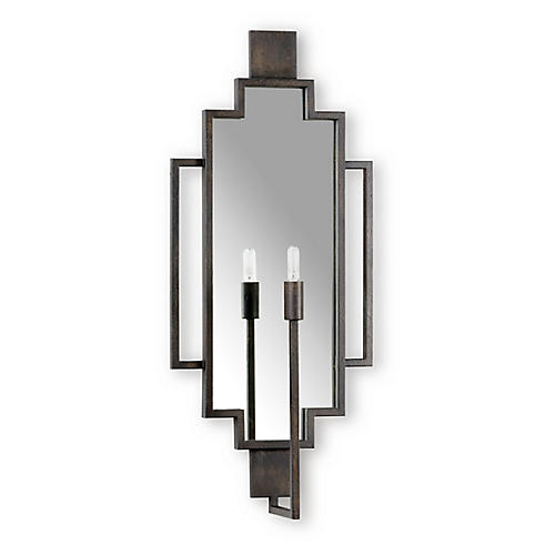 Hampton Mirrored Sconce, Bronze