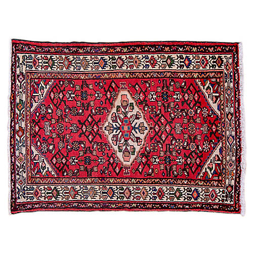"3'6""x4'10"" Persian Hamadan Rug, Red/Pearl"