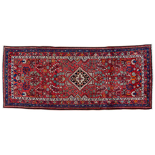 "4'5""x10'5"" Persian Hamadan Runner, Red/Sky Blue"