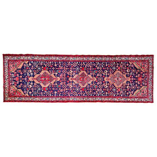 "3'8""x11'10"" Persian Hamadan Runner, Blue/Scarlet"