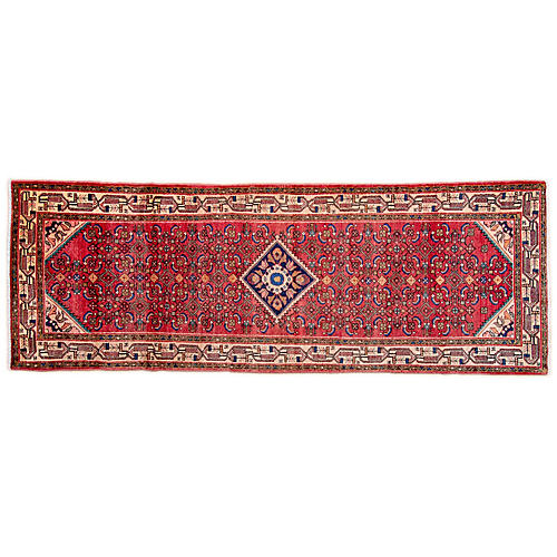 "3'7""x9'9"" Persian Hamadan Runner, Red/Camel"