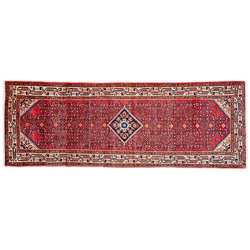 "3'7""x9'9"" Persian Hamadan Runner, Red/Camel"