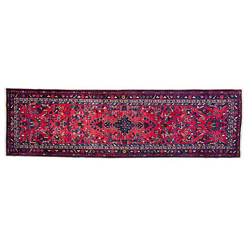 "3'9""x12'1"" Persian Hamadan Runner, Red/Pine"