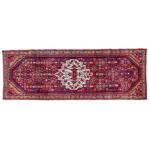 "3'7""x9'11"" Persian Hamadan Runner, Crimson/Ivory"