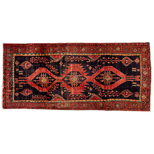 "4'9""x10'4"" Persian Hamadan Runner, Crimson/Copper"