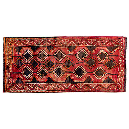 "4'9""x9'9"" Persian Hamadan Rug, Crimson/Black"