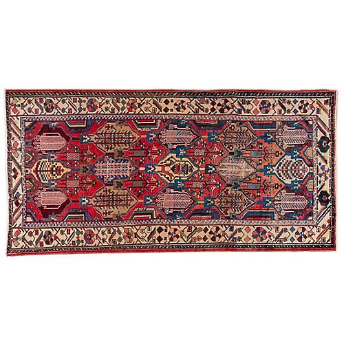 "5'3""x10'1"" Persian Hamadan Rug, Blue/Beige"
