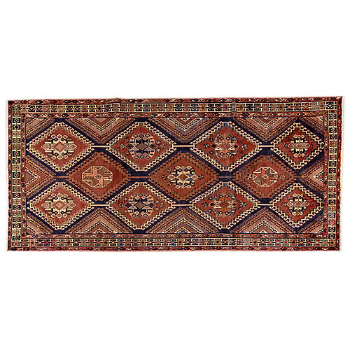 "5'3""x11'4"" Persian Hamadan Rug, Copper/Ivory"