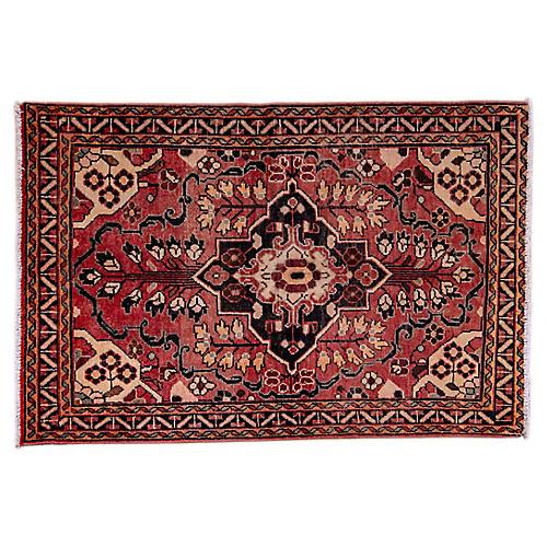 "4'3""x6'3"" Persian Hamadan Rug, Blush/Beige"