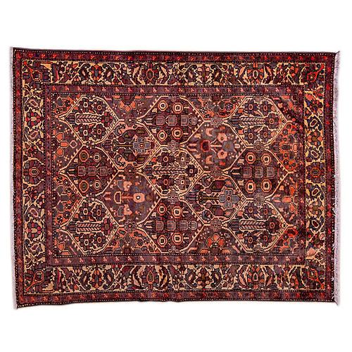 "5'2""x6'8"" Persian Hamadan Rug, Plum/Ivory"