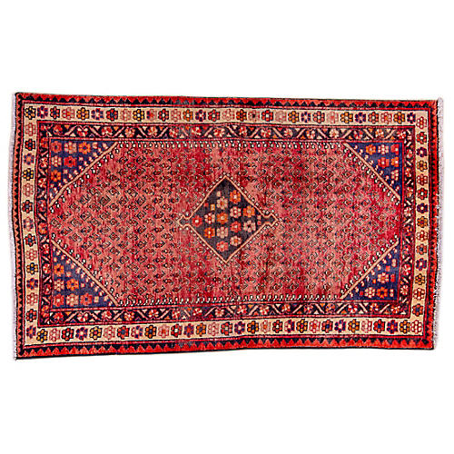 "4'x6'8"" Persian Hamadan Rug, Red/Cream"