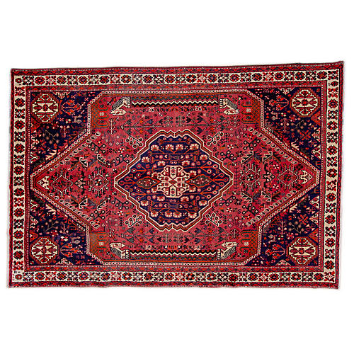 "6'4""x8'11"" Persian Shiraz Rug, Wine/Ivory"