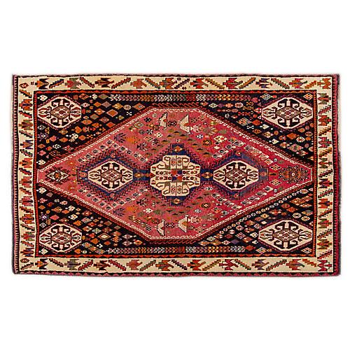 "5'x7'10"" Persian Shiraz Rug, Pink/Black"