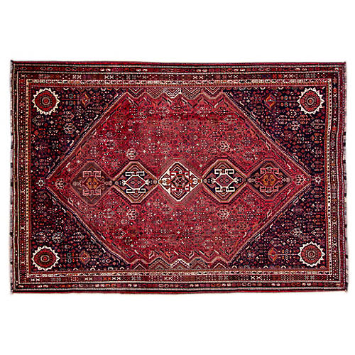 "7'6""x10'8"" Persian Shiraz Rug, Blush/Black"
