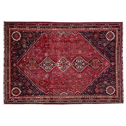 """7'6""""x10'8"""" Persian Shiraz Rug, Blush/Black"""