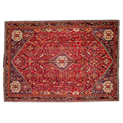 "7'3""x10'6"" Persian Shiraz Rug, Red/Ivory"
