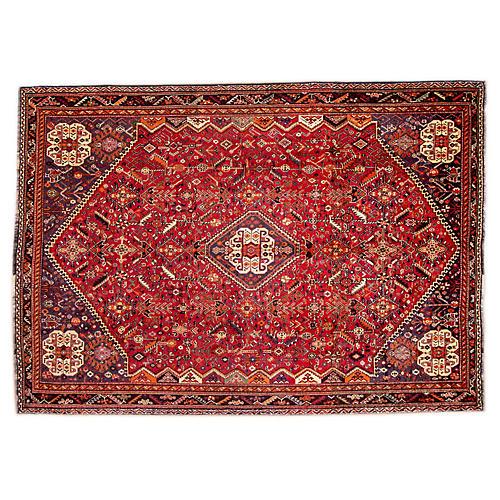 "7'3""x10'6"" Persian Shiraz Rug, Red/Ivory"