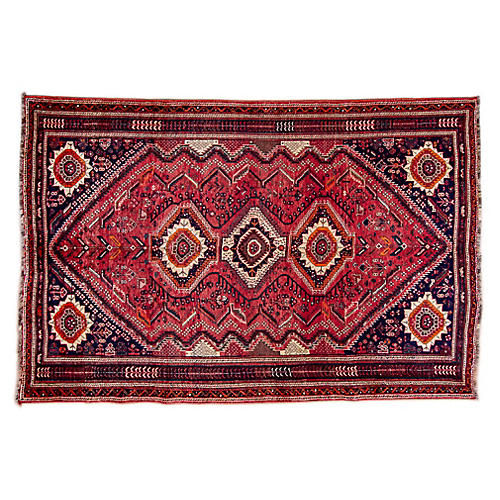 "5'9""x8'9"" Persian Shiraz Rug, Red/Orange"