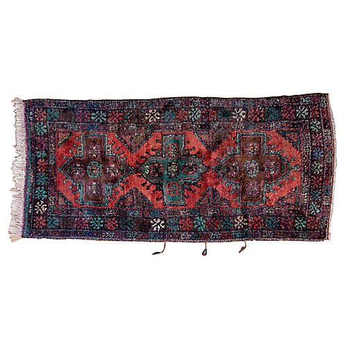 """5'5""""x12'6"""" Turkish Hand-Knotted Runner, Blush/Teal"""