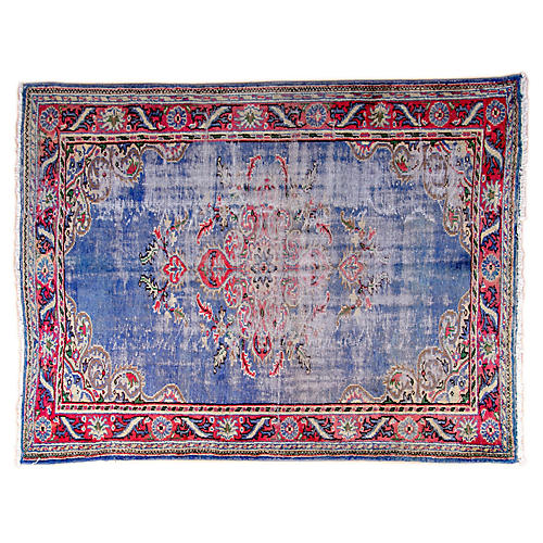 """6'7""""x8'6"""" Turkish Hand-Knotted Rug, Sky Blue/Red"""
