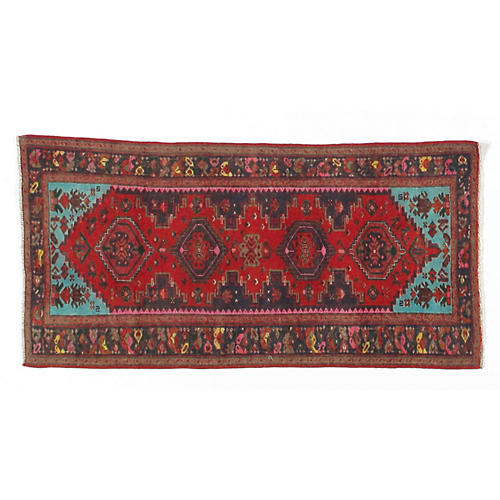 """2'11""""x6' Alte Handwoven Rug, Red/Blue"""