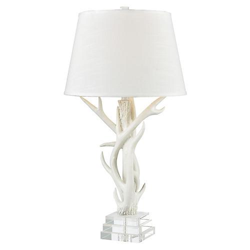 Burlon Table Lamp, Matte White/Crystal