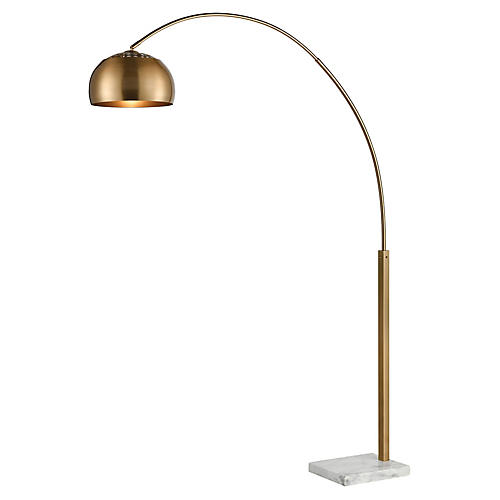 Lumier Marble Floor Lamp, Aged Brass