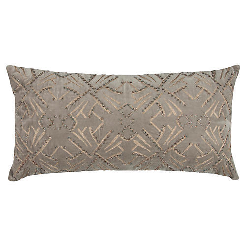 Estelle 14x26 Pillow, Gray Velvet