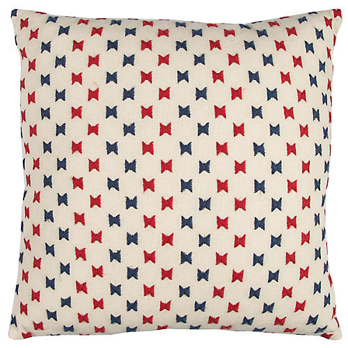 Halle 20x20 Bow Pillow, Red/Blue