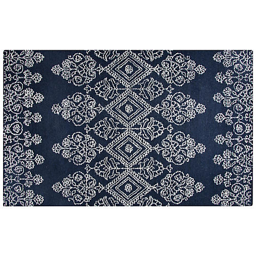 Glass Rug, Navy/Ivory