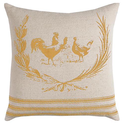 Dixie 17x17 Pillow, Natural/Yellow