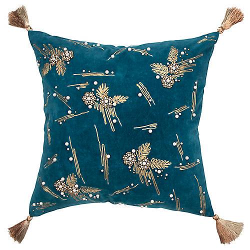 Cristobal 20x20 Pillow, Teal Velvet