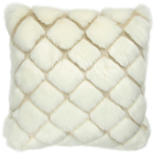 Tannon 20x20 Faux-Fur Pillow, Cream