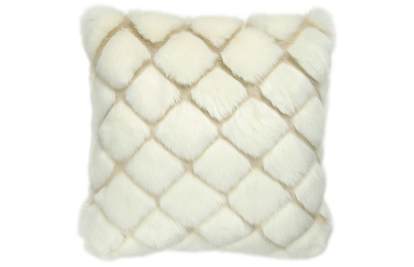 Tannon 20x20 Faux-Fur Pillow, Cream