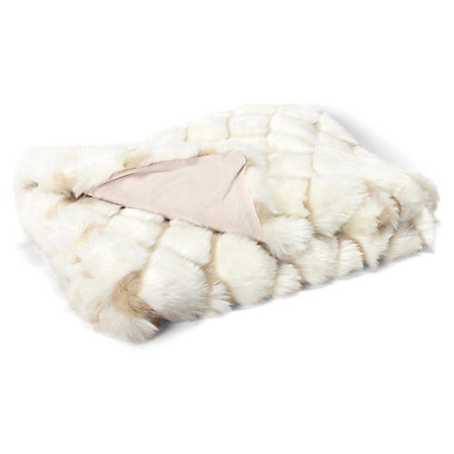 Tannon Faux-Fur Cotton Throw, Cream