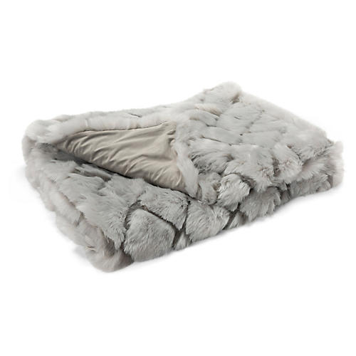 Tannon Faux-Fur Cotton Throw, Gray