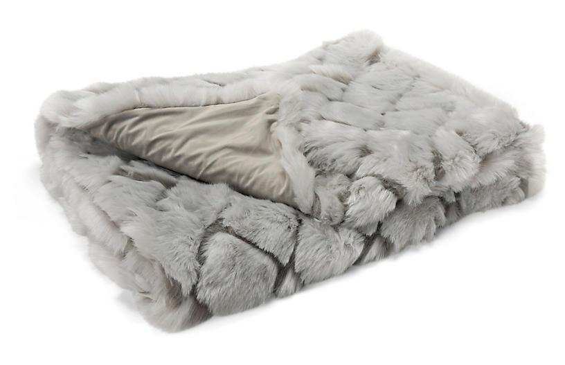 Tannon Faux-Fur Cotton Throw, Gray
