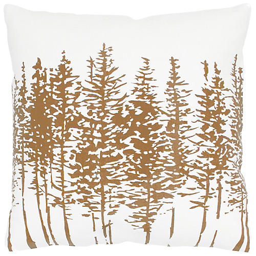 Tannen 18x18 Holiday Pillow, Brown/White