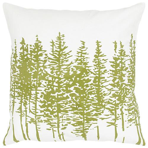 Tannen 18x18 Holiday Pillow, Sage/White