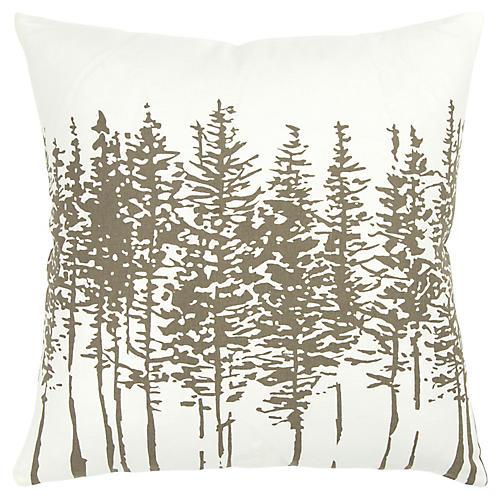 Tannen 18x18 Holiday Pillow, Gray/White